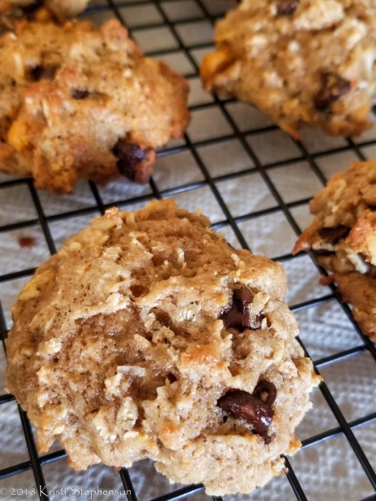 cooling banana coconut chocolate chip cookies