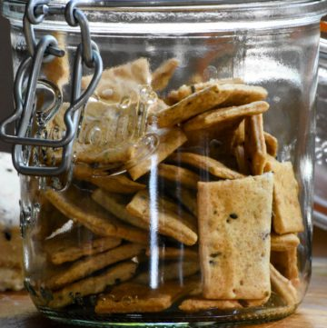 Finished crackers in jar