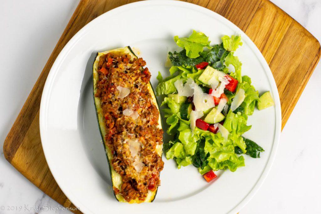 plated stuffed zucchini