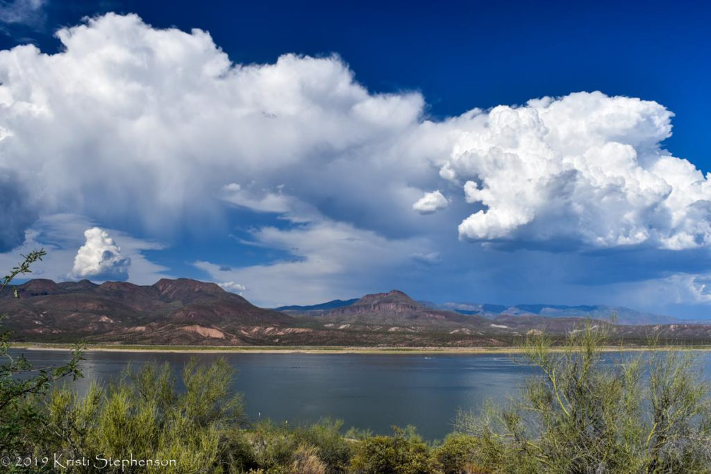 Monsoon clouds over lake