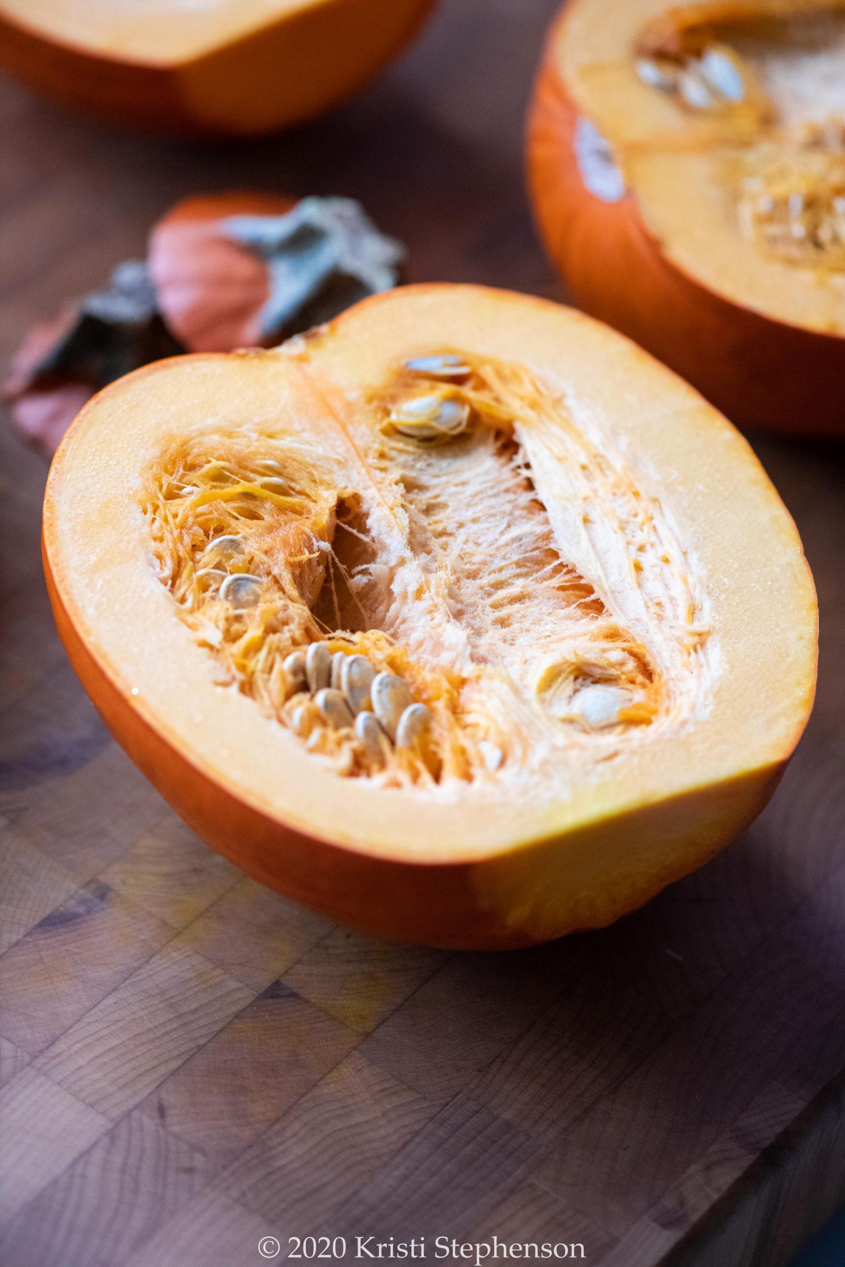 Halved pie pumpkins