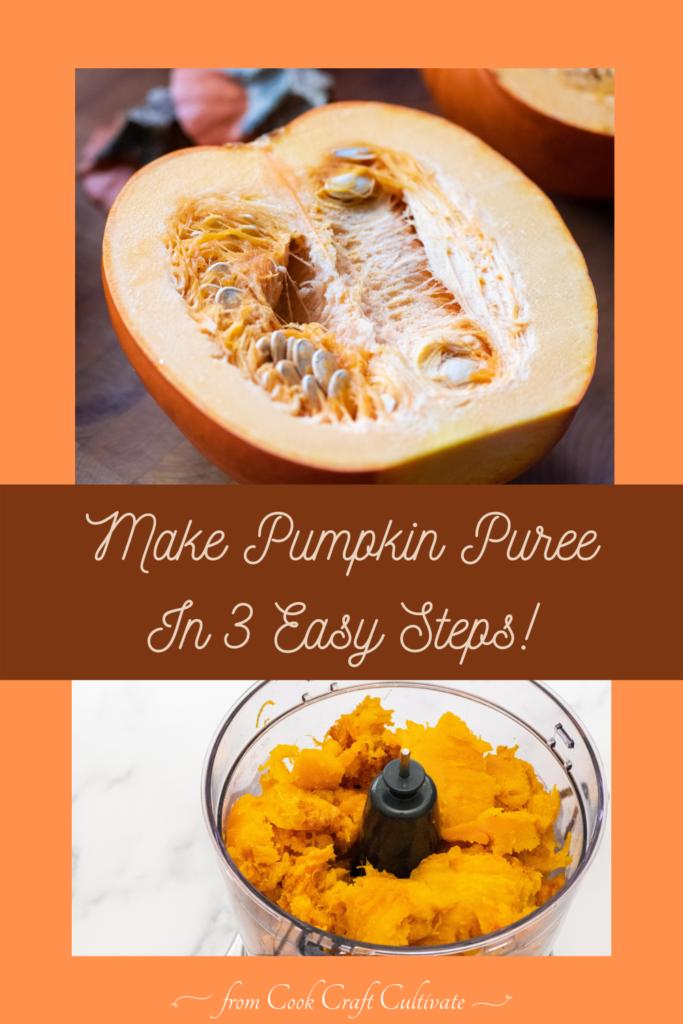Pinterest image showing pumpkin puree.