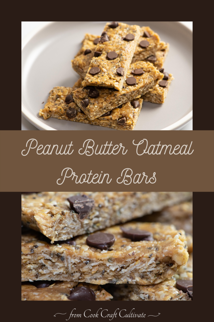 Pinterest image showing peanut butter oatmeal protein bars.
