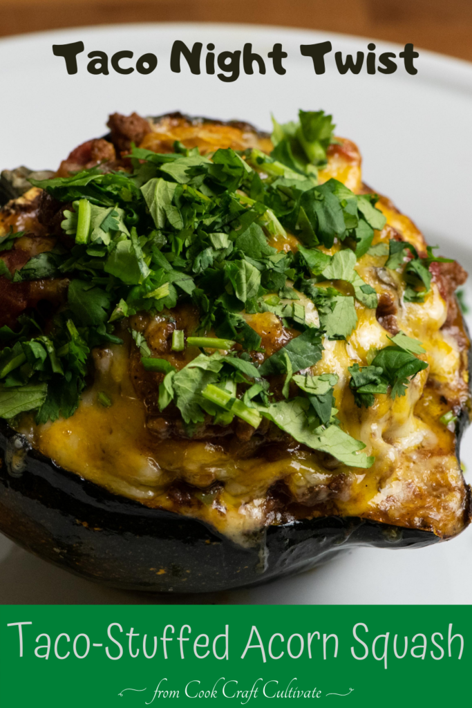 Pinterest image showing taco-stuffed acorn squash.