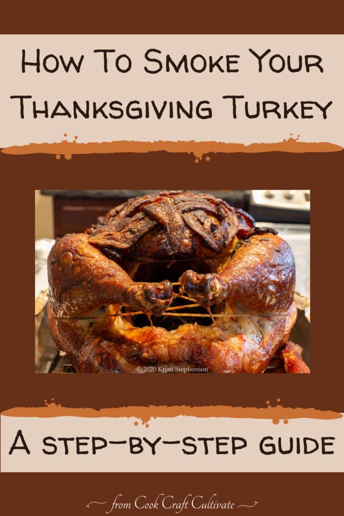 Pinterest image showing smoked turkey.