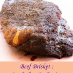 Pinterest image showing smoked beef brisket.