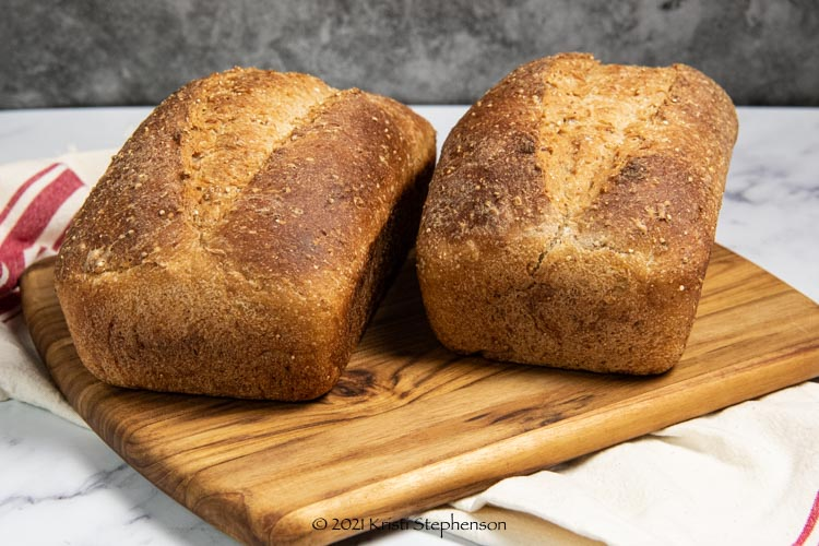 multigrain sourdough bread loaves baked and cooled