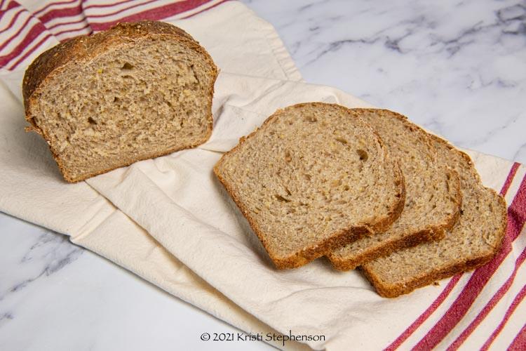 freshly sliced multigrain sourdough bread
