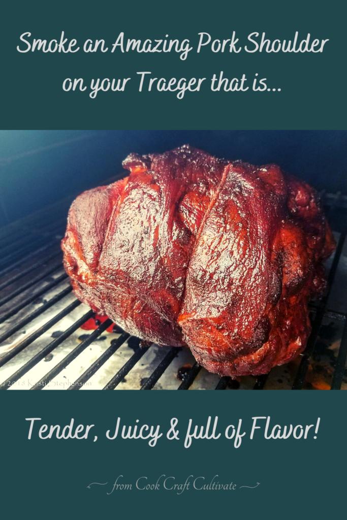 pinterest image for traeger smoked pork shoulder