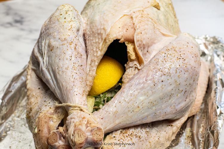 stuffed turkey ready to smoke